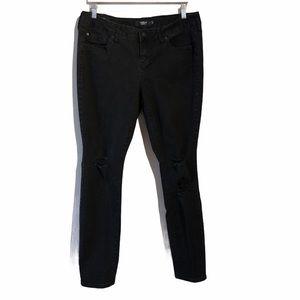Torrid Black Denim Plus Size Skinny Jeans Distressed 14R